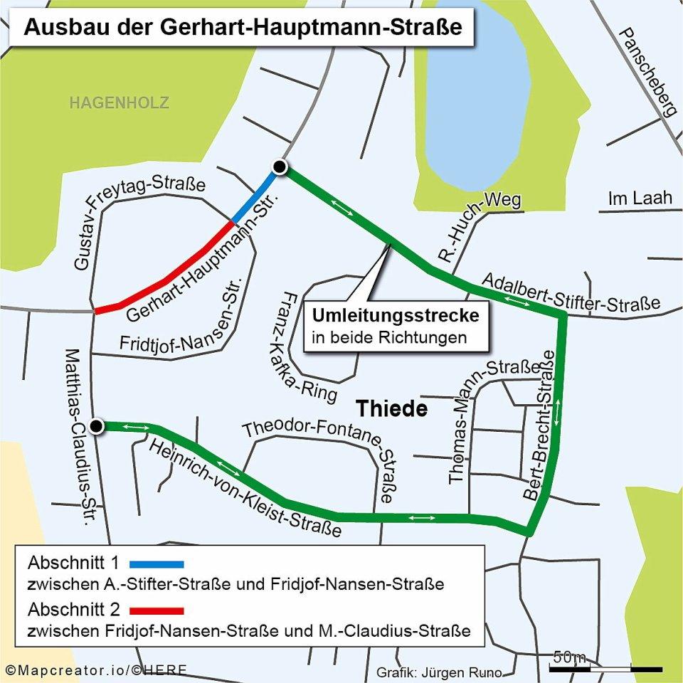 Ausbau der Gerhart-Hauptmann-Straße.